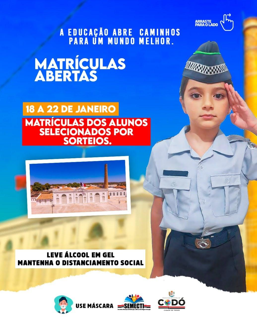 ESCOLA CÍVICO MILITAR: MATRÍCULAS ABERTAS!