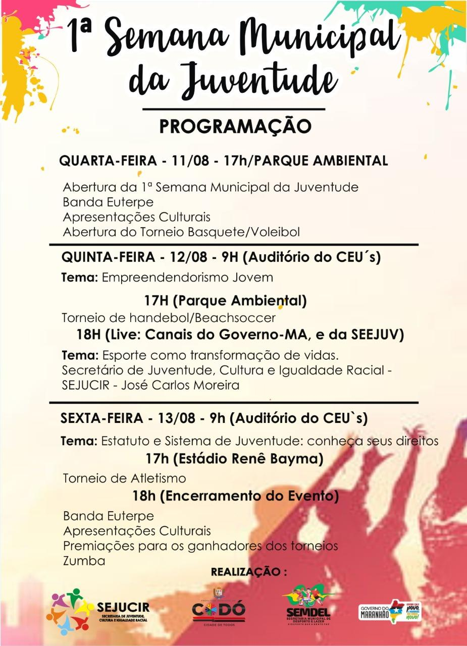 Prefeitura promove Semana Municipal da Juventude de 11 a 13 de agosto em Codó
