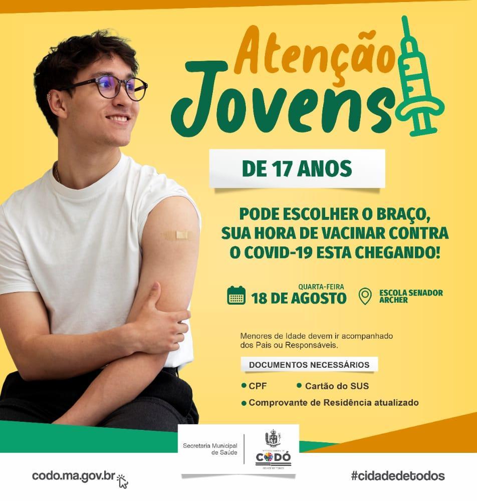 Prefeitura de Codó inicia vacinação de Jovens de 17 anos contra Covid-19 nesta quarta-feira (18)