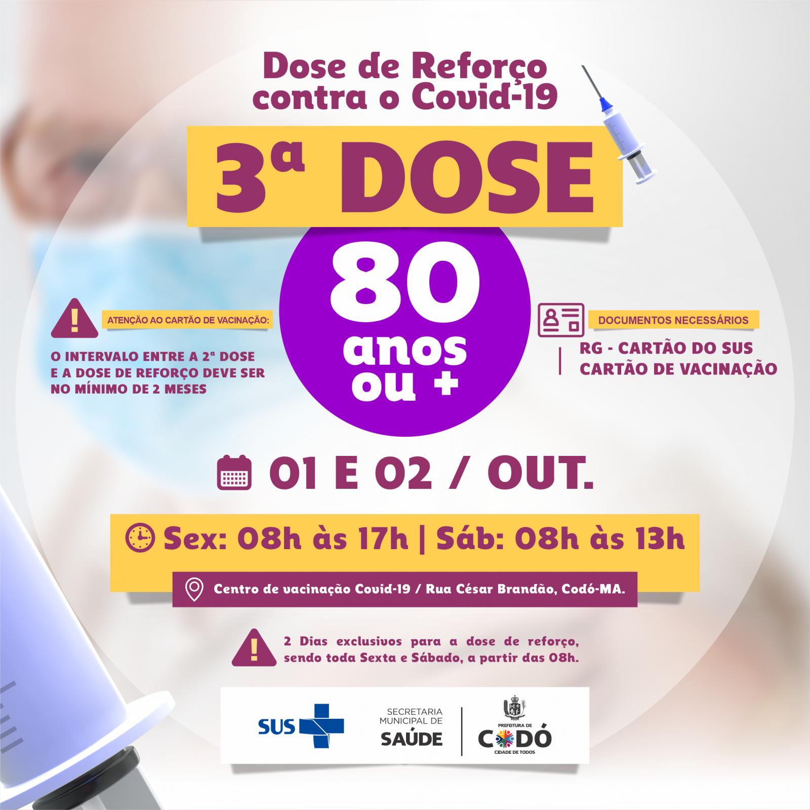 Prefeitura anuncia dose de reforço de vacina contra Covid-19 para quem tem mais de 80 anos em Codó