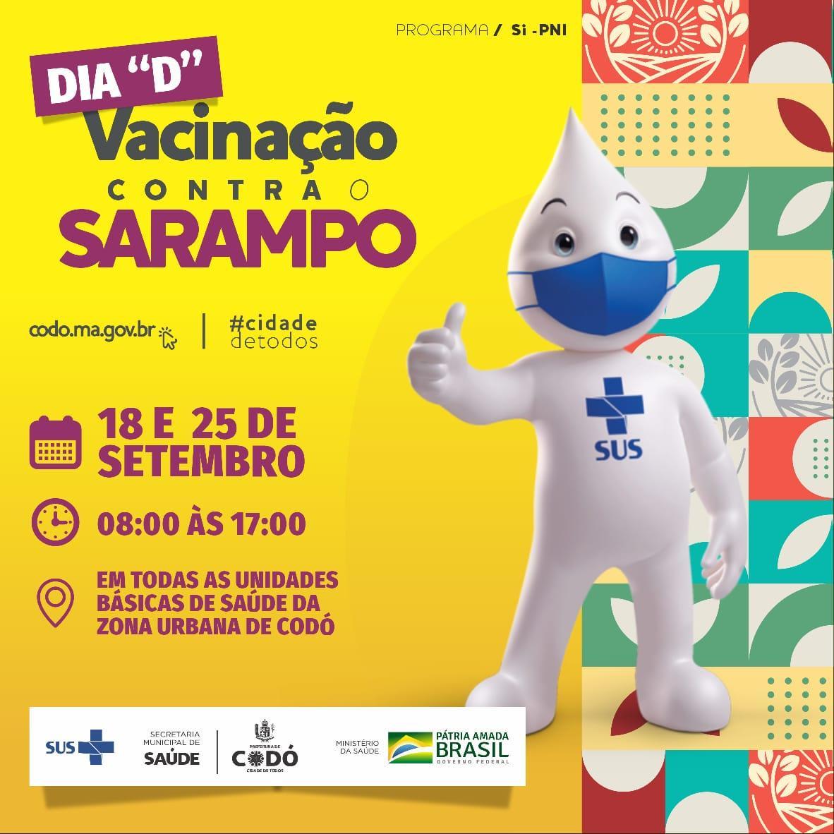 Prefeitura de Codó vai realizar Campanha de Vacinação contra o Sarampo neste Sábado para pessoas entre 5 a 49 anos