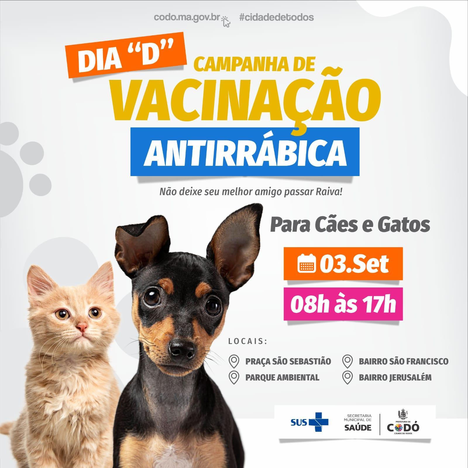 Prefeitura vai realizar Campanha de Vacinação Antirrábica nesta sexta-feira (3), em Codó