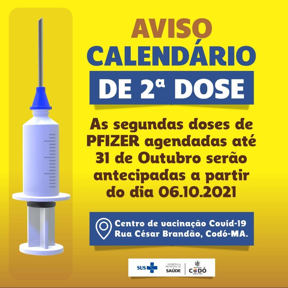 Secretaria de Saúde antecipa segunda dose da Vacina Pfizer em Codó